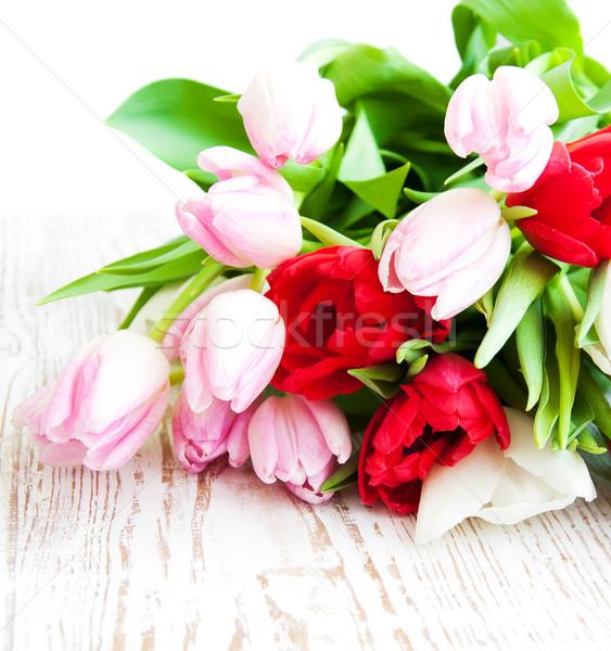 Stockfoto: Tulpen · boeket · kleurrijk · houten · Pasen · bloemen