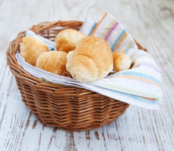 basket of fresh croissant Stock photo © Es75
