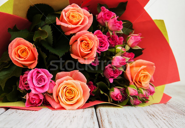 Buquê rosa rosas belo flor textura Foto stock © Es75