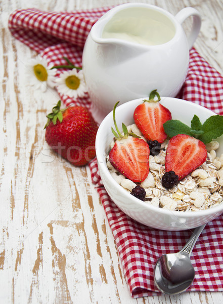 grain muesli with strawberries Stock photo © Es75