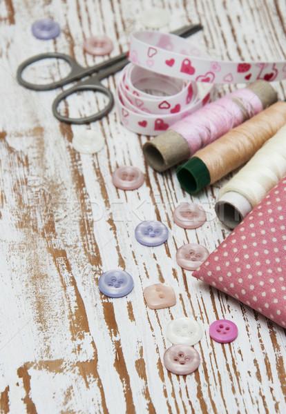 Foto stock: De · costura · alfaiate · moda · grupo · tecido · branco