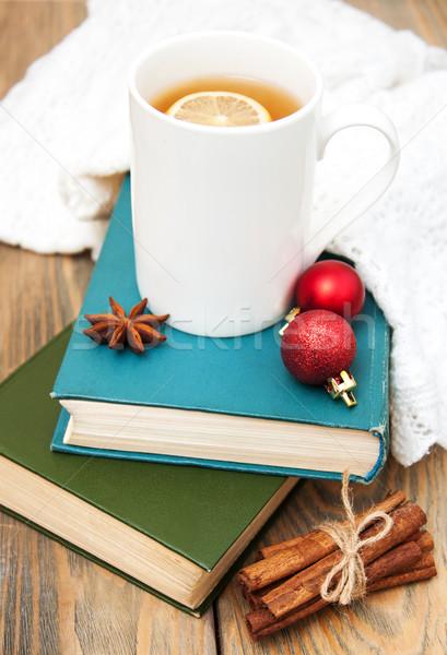 Karácsony teáscsésze klasszikus könyv étel fa Stock fotó © Es75
