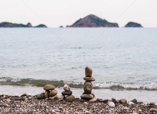 Stock photo: Piramid from sea stones