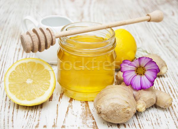 Miele limone zenzero legno fiore alimentare Foto d'archivio © Es75