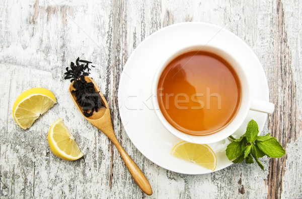 Cup of tea with lemon and mint  Stock photo © Es75