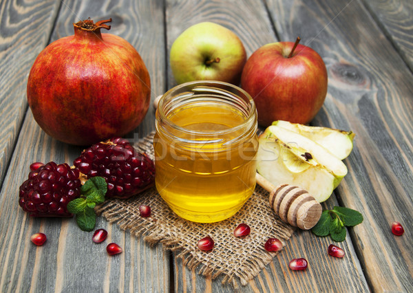 honey  apple and pomegranate Stock photo © Es75