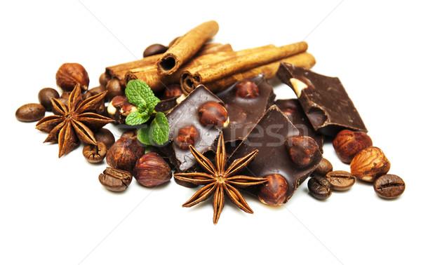 Stockfoto: Pure · chocola · noten · specerijen · witte · voedsel · chocolade