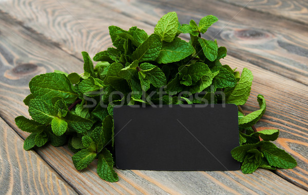 Leaves of mint with label Stock photo © Es75