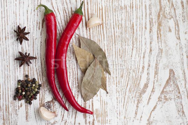 Fűszer chilli bors babérlevél csillag ánizs Stock fotó © Es75