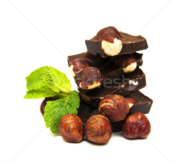 Pure chocola noten witte voedsel chocolade achtergrond Stockfoto © Es75
