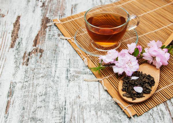 Kubek herbaty sakura kwiat różowy starych Zdjęcia stock © Es75