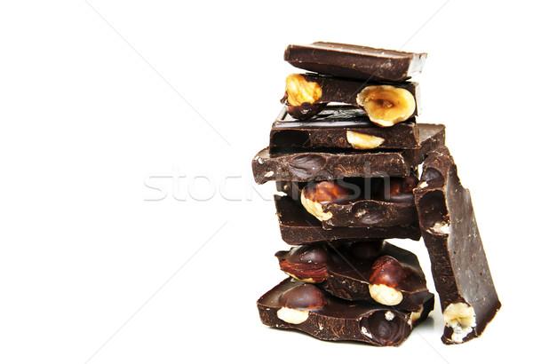 Chocolate oscuro nueces blanco alimentos chocolate fondo Foto stock © Es75