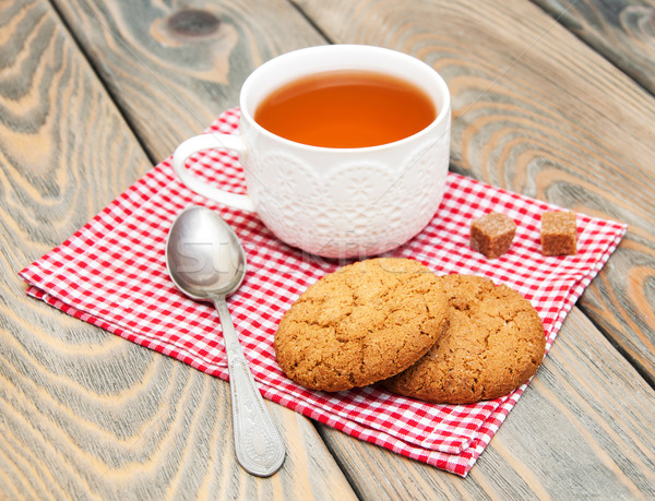 Cup of tea with oatmeal cookies Stock photo © Es75