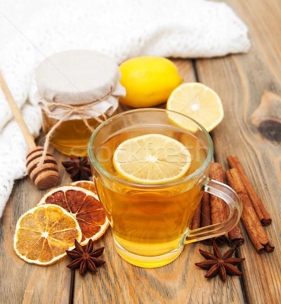 Copo chá mel madeira fruto Foto stock © Es75