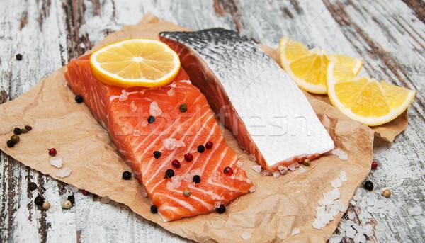 świeże łososia filet aromatyczny zioła przyprawy Zdjęcia stock © Es75