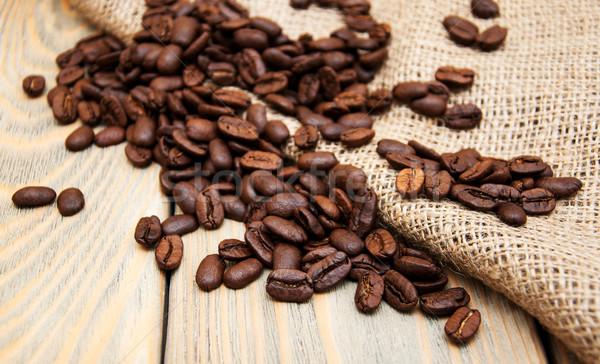 Grãos de café pano de saco tecido textura natureza Foto stock © Es75