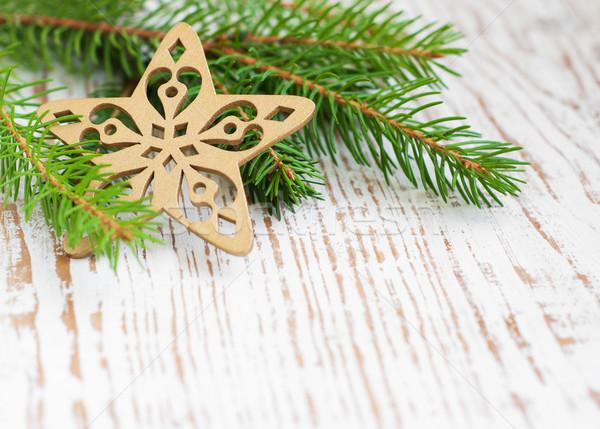 Weihnachten Grenze Kiefer Holz Raum grünen Stock foto © Es75
