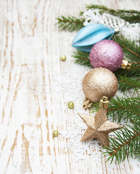 Weihnachten Dekoration Ast Holz Hintergrund