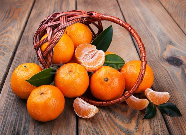 Suculento laranja velho mesa de madeira saúde fundo Foto stock © Es75