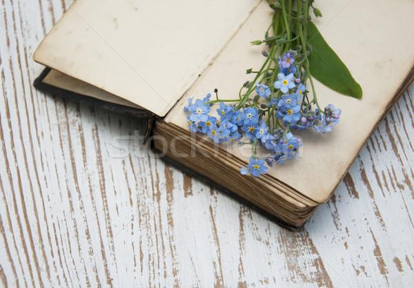 Flores velho livro monte livros fundo beleza Foto stock © Es75