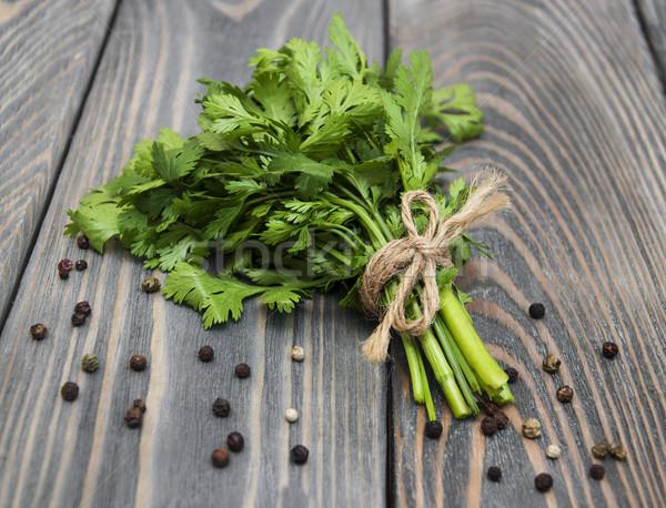 新鮮な 緑 コリアンダー 木製 食品 背景 ストックフォト © Es75