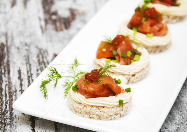 canape with salmon and dill  Stock photo © Es75