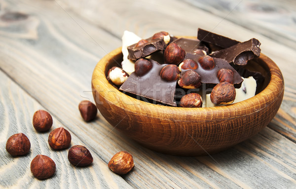 Dark  and white chocolate with nuts  Stock photo © Es75