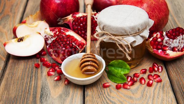 Bal nar elma eski ahşap gıda Stok fotoğraf © Es75
