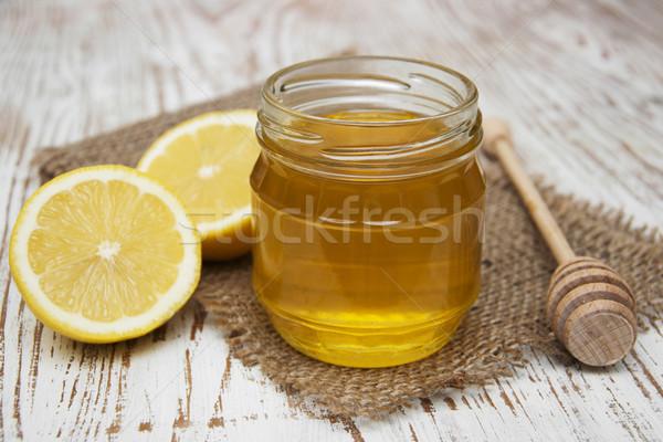 Miel mesa de madera naturaleza hoja frutas Foto stock © Es75