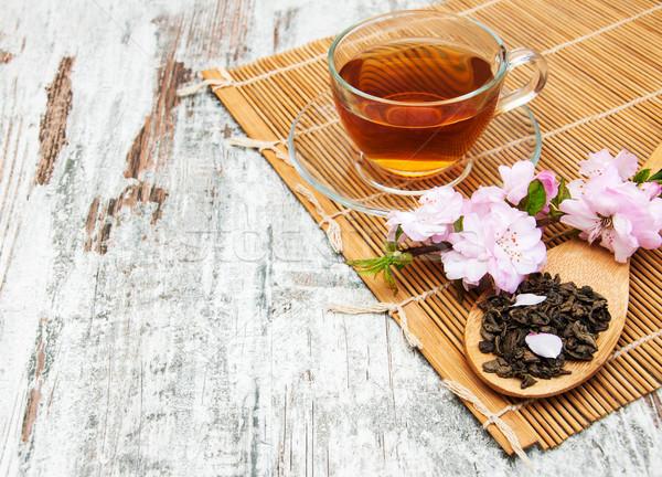 Copo chá sakura flor rosa velho Foto stock © Es75