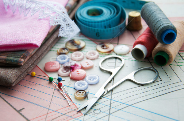 Foto stock: Sastre · papel · resumen · herramientas · acero · blanco