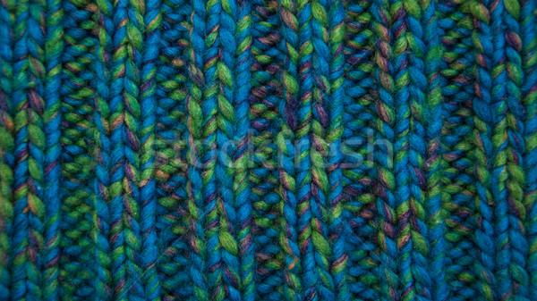 Foto stock: De · punto · tejido · textura · azul · lana · fondo