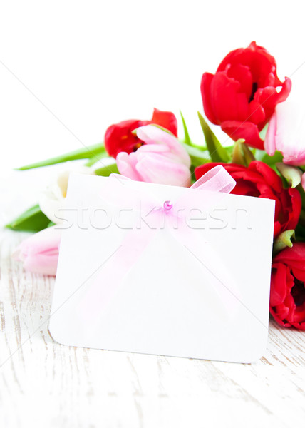 Photo stock: Tulipes · bouquet · coloré · note · carte · fleurs