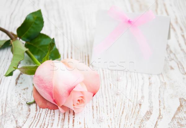 üres kártya üzenet rózsaszín rózsa fából készült papír rózsa Stock fotó © Es75