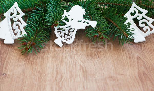 ストックフォト: クリスマス · 装飾 · おもちゃ · 常緑 · 支店 · 木製