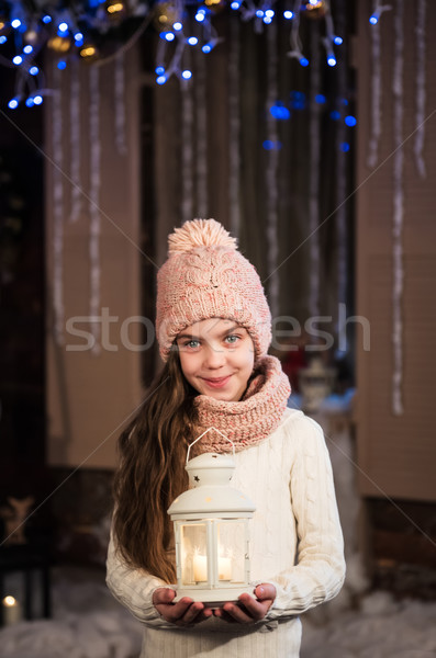 pretty little girl with flashlight Stock photo © Es75