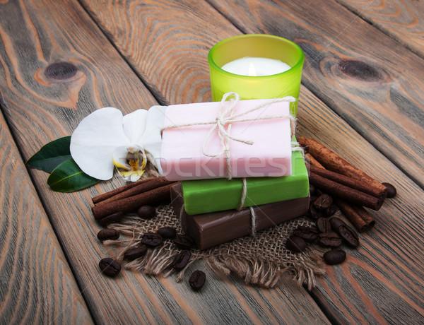 Kaffee duftenden Seife Holz Blume Stock foto © Es75