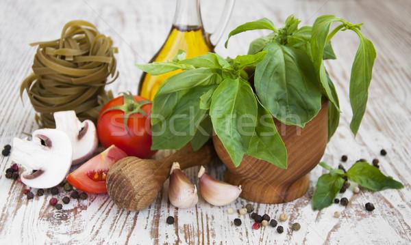 Taze malzemeler pişirme makarna domates baharatlar Stok fotoğraf © Es75