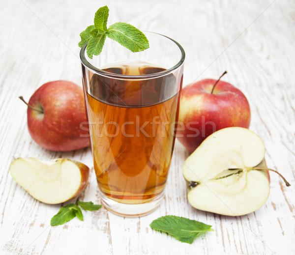 Almalé friss almák fából készült étel fa Stock fotó © Es75