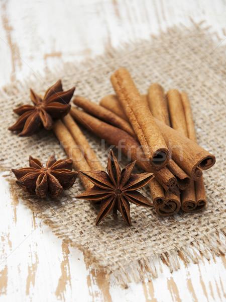 Estrela canela em pau madeira secretária lona Foto stock © Es75