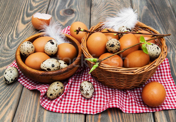different types of eggs in a basket Stock photo © Es75