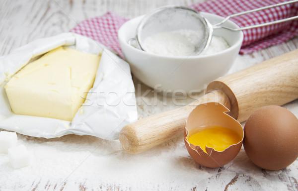材料 表 古い 白 食品 ストックフォト © Es75