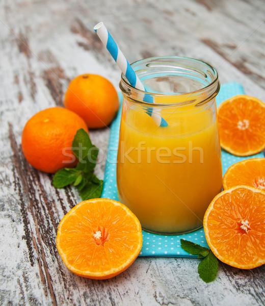 Succo d'arancia vetro legno legno tavola colazione Foto d'archivio © Es75