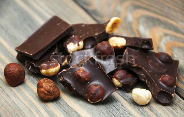 Stockfoto: Pure · chocola · noten · houten · voedsel · chocolade · achtergrond