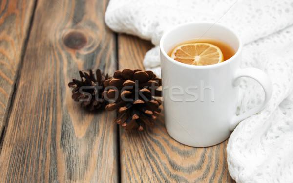 Fincan kış çay eşarp ahşap Stok fotoğraf © Es75