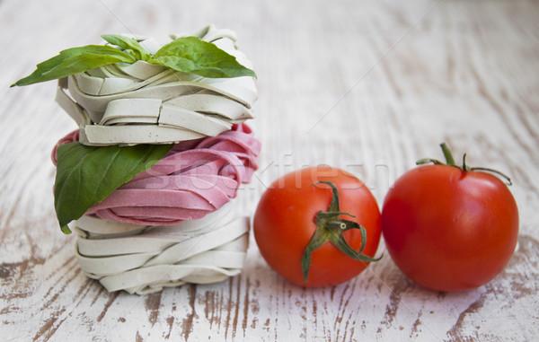 Tagliatelle İtalyan makarna ahşap gıda yaprak Stok fotoğraf © Es75