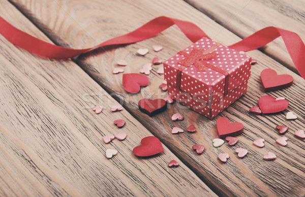 Gift box and hearts - vintage toning Stock photo © Es75