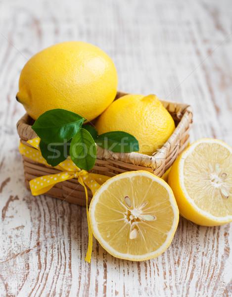 Limon sepet ahşap doğa meyve yaz Stok fotoğraf © Es75