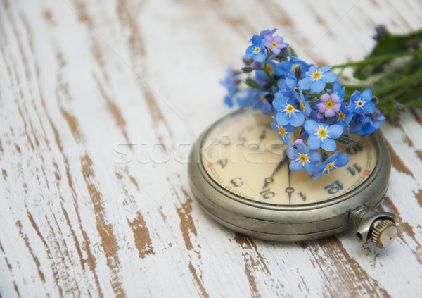 Zakhorloge vintage bloemen houten voorjaar hout Stockfoto © Es75