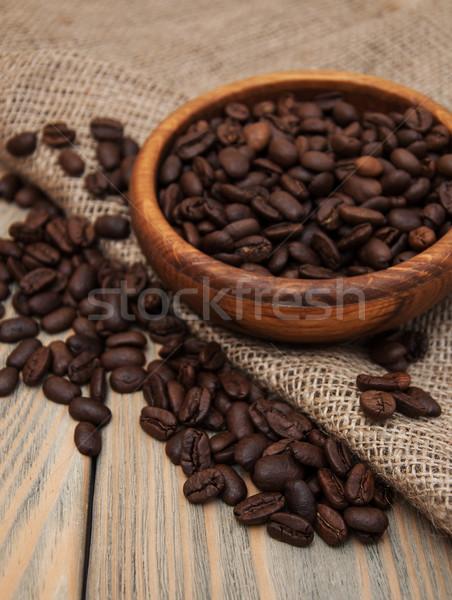コーヒー豆 黄麻布 ファブリック 木製 テクスチャ 自然 ストックフォト © Es75